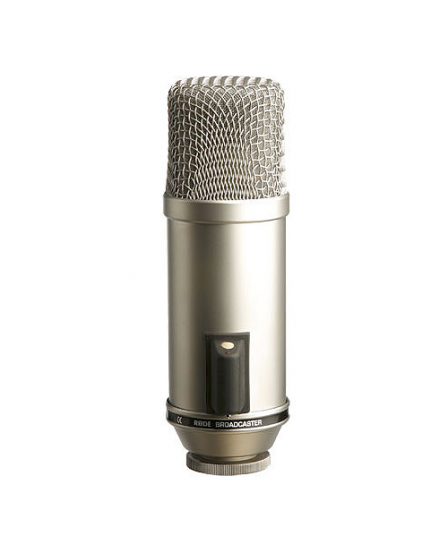 "Rode Microphones Broadcaster Precision 1"" broadcast cardioid end-address condenser microphone. Features unique 'on air' indicator."