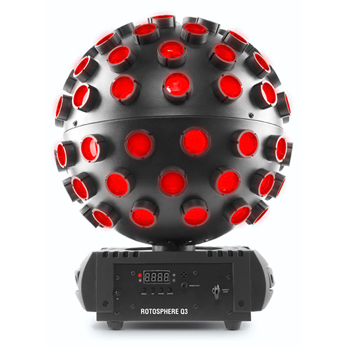 CHAUVET DJ Rotosphere Q3 mirror ball simulator with high-power, quad-color LEDs.