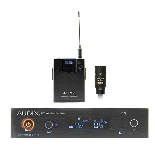 Audix AP61L10 R61 receiver, B60 bodypack with ADX10 lavalier microphone. 522-586Mhz