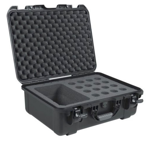 Gator GM-16-MIC-WP Black waterproof case with foam, holds 16 handheld mics and accessories