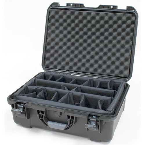 Gator GU-2011-07-WPDV Black waterproof injection molded case with pullout handle and inline wheels.