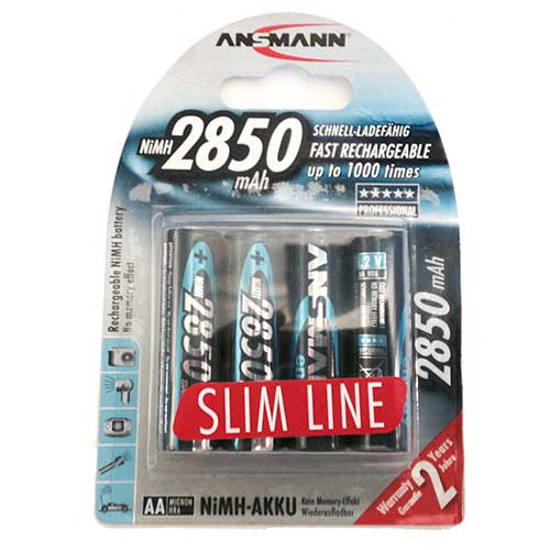 Ansmann 2850 Slimline Rechargeable Batteries,  5035212-US