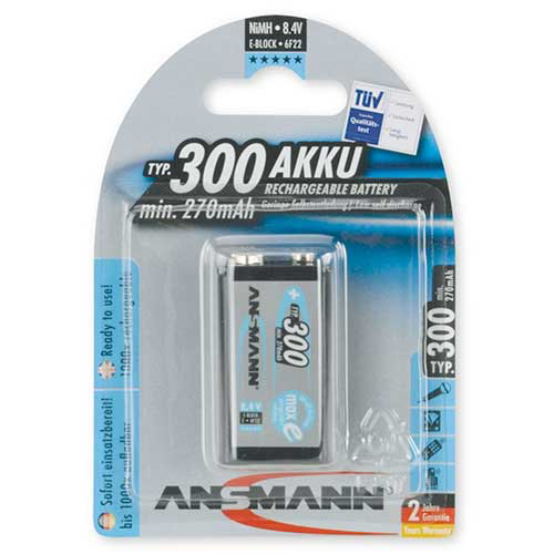 Ansmann 300 mah 9V Rechargeable Batteries, 5035453