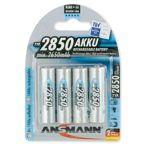 Ansmann 2850 mah AA Rechargeable Batteries, 5035212