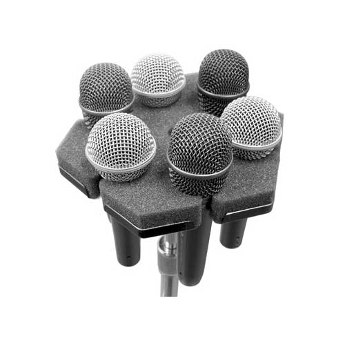 Ace Bakstage SOFTPOD mounts on standard mic stands and hold 6 standard ball-type mics securely