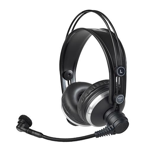 AKG HSD171, Professional closed-back headphones with dynamic mic for broadcast and recording use.