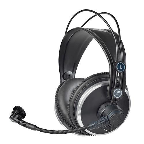 AKG HSD271, Professional closed-back headphones with dynamic mic for broadcast and recording use.