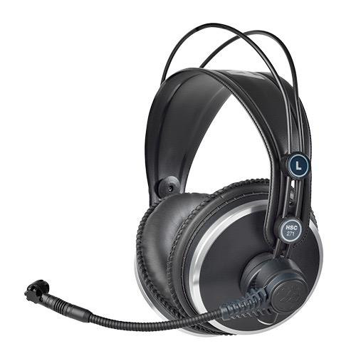 AKG HSC271, Professional closed-back headphones with condenser mic for broadcast and recording use.
