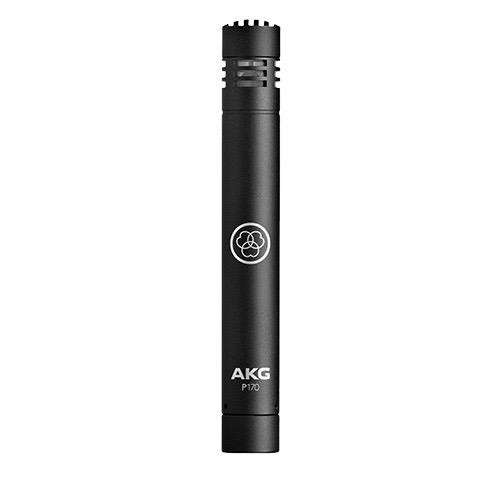AKG P170, Professional instrumental microphone with small diaphragm-true condenser transducer, package includes a stand adapter.
