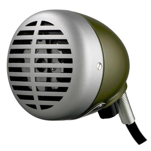 "Shure 520DX ""The Green Bullet"" Omnidirectional Dynamic Harmonica Microphone with Volume Control"