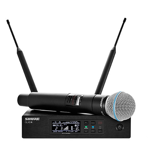 Shure QLXD24/B58-G50 Beta 58 handheld wireless microphone transmitter vocal system, Frequency G50 (64 MHz) 470 – 534 MHz