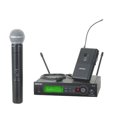 Shure SLX124/85/SM58-G4 Wireless Combo System with SM58 Handheld Microphone & WL185 Lavalier Microphone, G4 Band