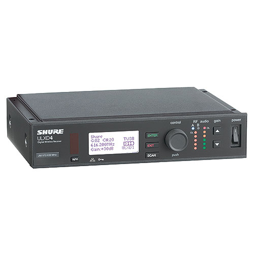 Shure ULXD4-G50 Single Digital Wireless Receiver with PS41US Power Supply, 1/2 Wave Antenna and Rack Mounting Hardware