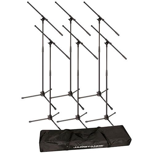 JamStands JS-MCFB6PK 6-Pack Tripod Microphone Boom Stand Package with Bag, Black