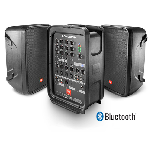 JBL EON208P Powered Compact All-in-one PA with 8-channel Mixer and Dual 2-way Speakers, Bluetooth, 300 Watts