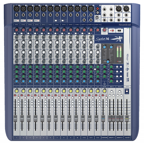 Soundcraft Signature 16 Console, 12 Mic Preamps, 16-input small format analogue mixers with onboard effects