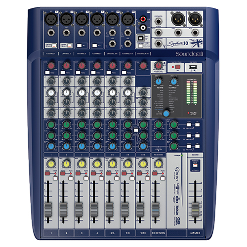 Soundcraft Signature 10 Console, 6 Mic Preamps, 10-input small format analogue mixers with onboard effects