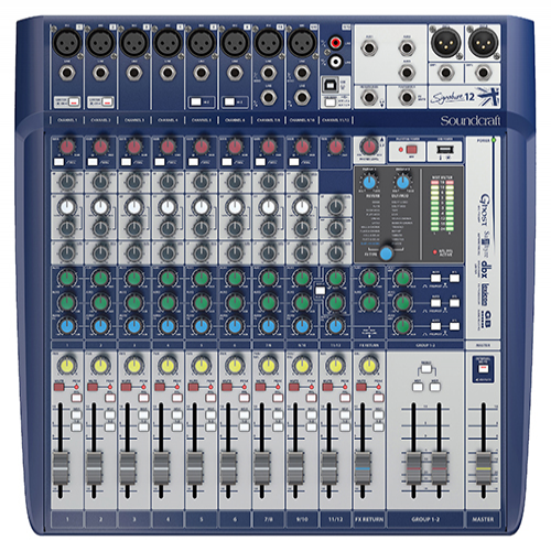 Soundcraft Signature 12 Console, 8 Mic Preamps, 12-input small format analogue mixers with onboard effects