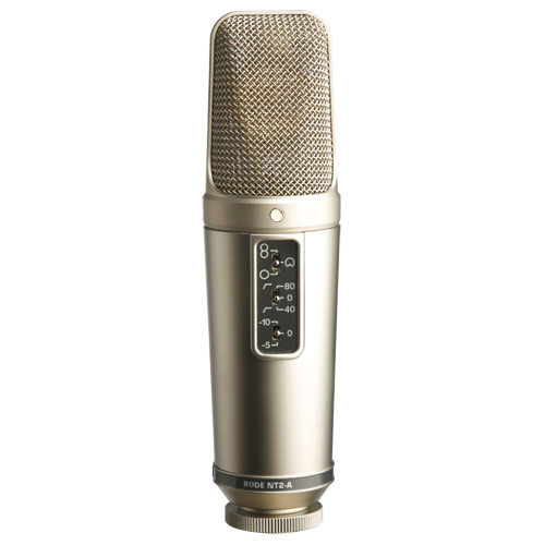 "Rode Microphones NT2-A Multi pattern 1"" dual condenser microphone, featuring switchable omni, cardioid and figure 8 polar patterns, HPF and PAD."