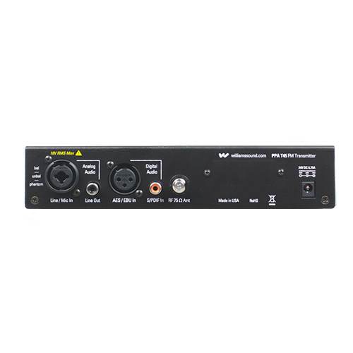 Williams Sound PPA T45 Large-area FM base-station transmitter with multiple digital audio inputs, OLED display and DSP audio processing.