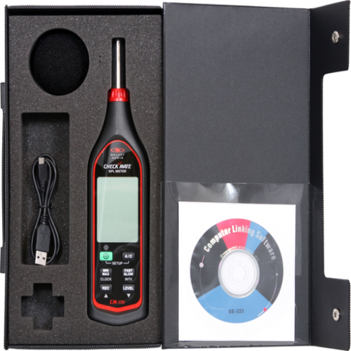 Galaxy Audio CM-170 Check Mate Sound Pressure Level Meter with USB cable and case