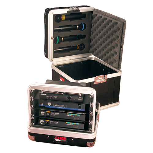 Gator GM-4WR ATA Molded Case for 4 Complete Wireless Mic Systems; half rack