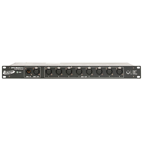 Elation Opto Branch 8 Single rack space, 8-way DMX distributor/booster with 5pin XLR input and output jacks.