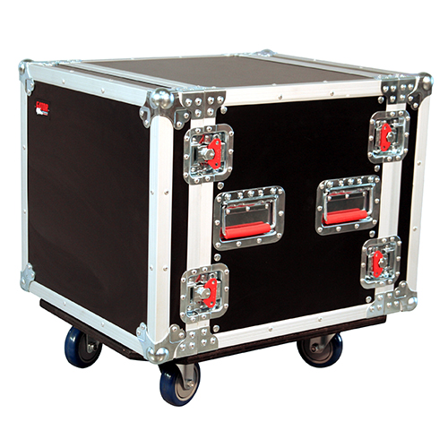 Gator G-TOUR 10U CAST ATA Wood Flight Rack Case, 10U, 17 inch Deep, with Casters