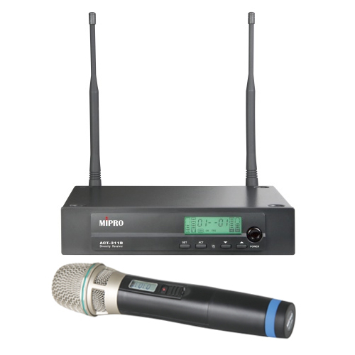 MIPRO ACT-311B/ACT-32H 5NC Single-Channel diversity receiver with handheld transmitter (CH 26-29; 542-566 MHz)