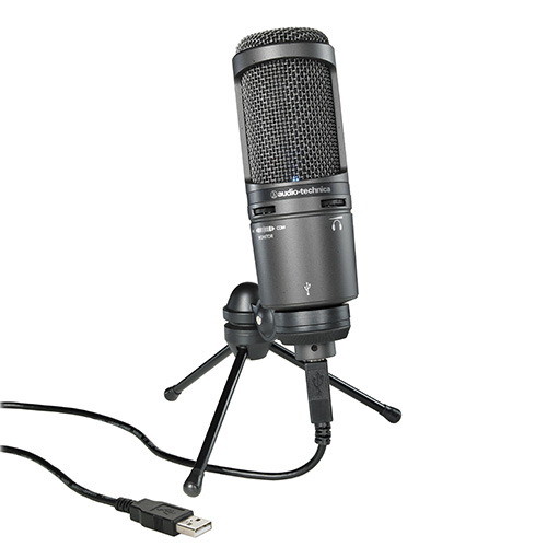 Audio-Technica AT2020USB+ Side-address cardioid condenser microphone with USB digital output.