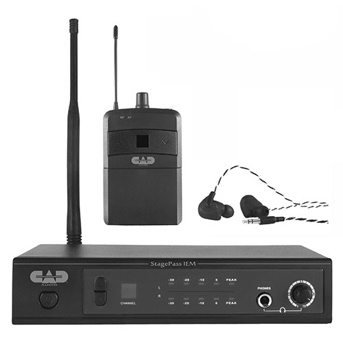 CAD STAGESELECT IEM UHF In Ear Monitor Wireless System - Single Pack with Ear Buds