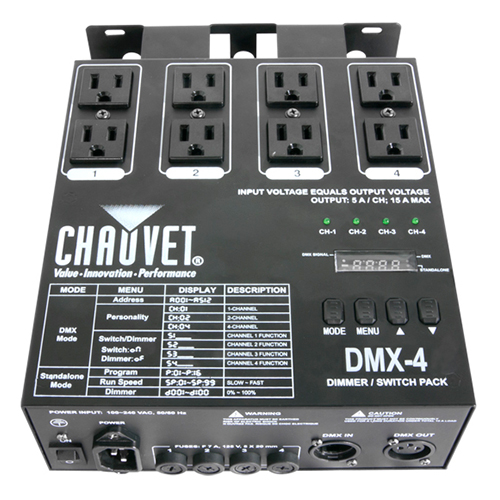 Chauvet DMX-4 Dimmer/Relay pack, 4-Channel