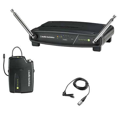 Audio-Technica ATW-901a/L ATW-R900a receiver and ATW-T901a body-pack transmitter with omnidirectional lavalier microphone.