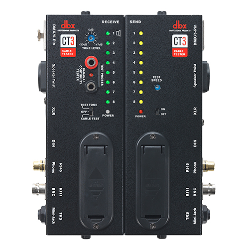 DBX CT3  Advanced cable testing unit with split design, allowing users to test the cable at the plug-in source