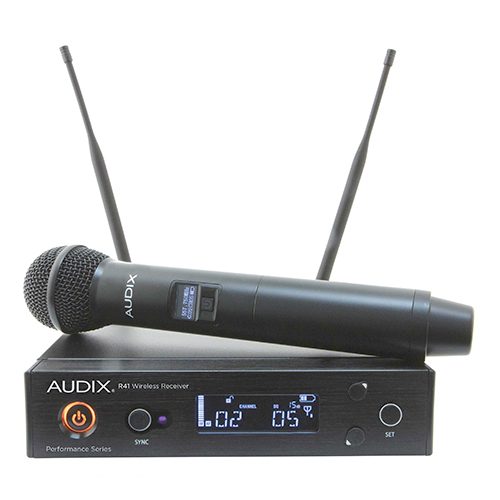 Audix AP41OM2A Wireless System, R41 receiver with H60/OM2 handheld transmitter, Frequency A