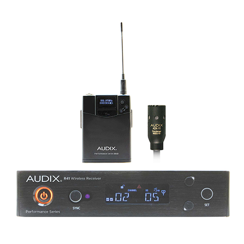 Audix AP41L10A Wireless, R41 receiver, B60 bodypack with ADX10 lavalier microphone. Frequency A