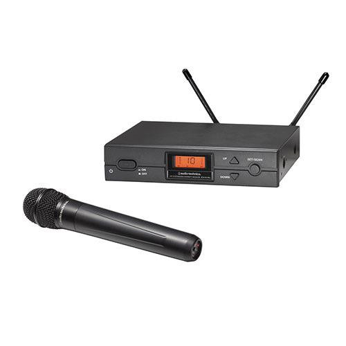 Audio-Technica ATW-2120BI 2000 Series Wireless System, ATW- R2100b receiver, ATW-T220a handheld cardioid dynamic microphone/transmitter, 487-506 MHz