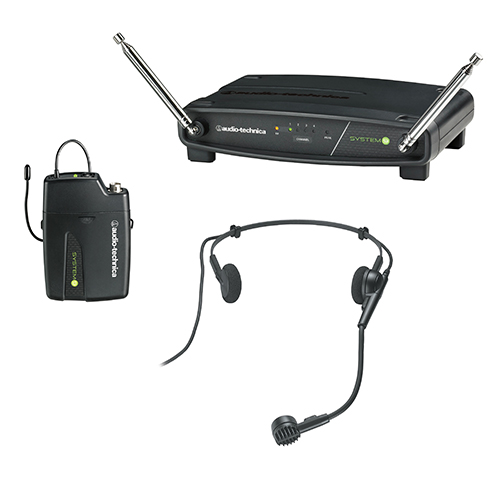 Audio-Technica ATW-901a/H ATW-R900a receiver and ATW-T901a body-pack transmitter with PRO 8HEcW headworn microphone.