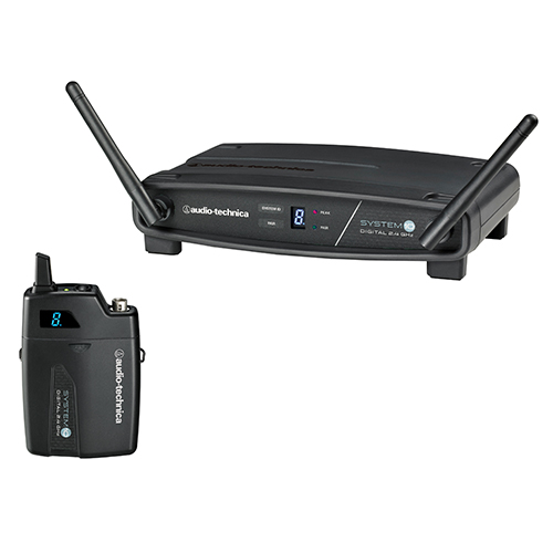 Audio-Technica ATW-1101 System 10 Digital Wireless System includes: ATW-R1100 receiver and ATW-T1001 UniPak transmitter, 2.4 GHz