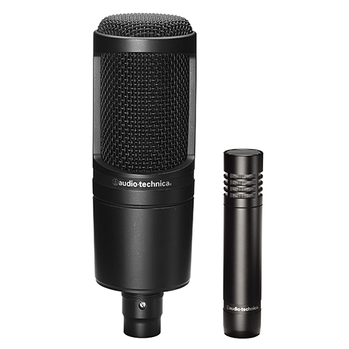 Audio-Technica AT2041SP 20 Series Studio Pack; AT2020 & AT2021 cardioid condenser microphones with stand mount, stand clamp and protective pouches