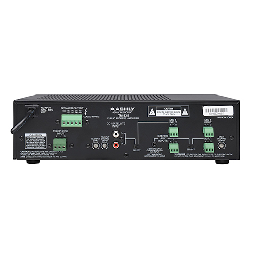 Ashly TM-335 35-Watt 3-Input Mixer/Amp with Xfmr Isolated Constant-Voltage & 4 Ohm Outputs