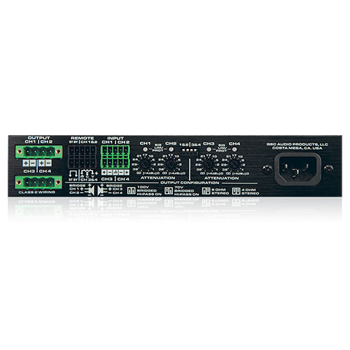 QSC SPA4-60 1/2 RU 4 Channel ENERGY STAR amplifier / Multichannel operation 60 watts into 8Ω & 4Ω, Bridged 250 watts into 70v and 100v