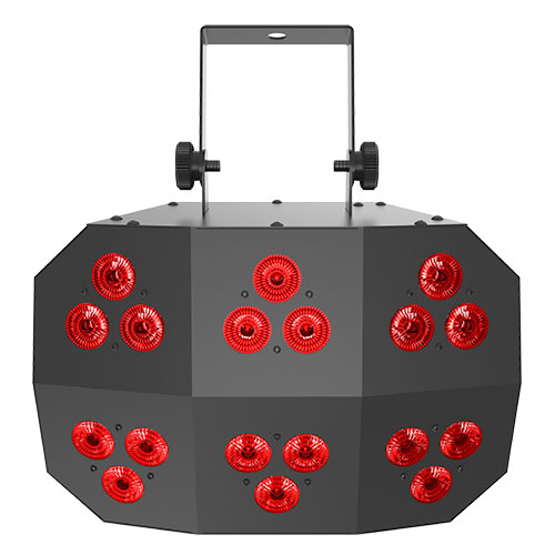 Chauvet DJ Wash FX2 multi-purpose effect light with 18 Quad-color LEDs with 6 chasing zones.