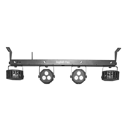 Chauvet DJ Gig Bar Flex 3-in-1 fixture includes a pair of LED Derby, LED pars and strobe effect.