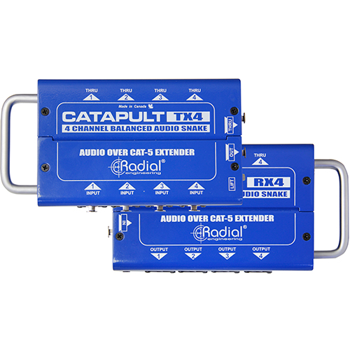 Radial Catapult RX4 4ch receiver, with balanced outs, uses shielded cat-5, Receive with 8 XLR outs