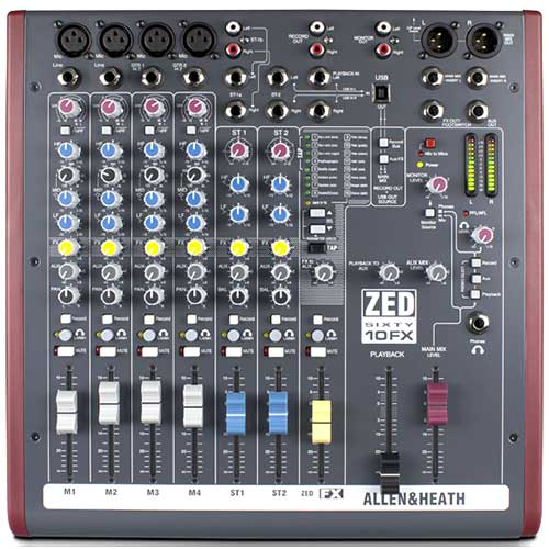 Allen & Heath ZED-60/10FX Zed-10FX with 60mm Faders and Effects