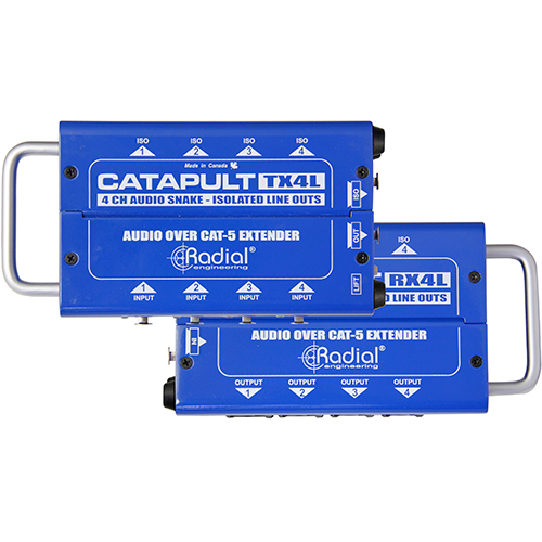 Radial Catapult TX4L 4ch transmitter, balanced i/o, line-level transformers, uses shielded cat-5, Transmit 4 ins & 4 line-level isolated outs
