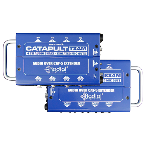 Radial Catapult TX4M 4ch transmitter, balanced i/o, mic-level transformers, uses shielded cat-5, Transmit 4 ins & 4 mic-level isolated outs