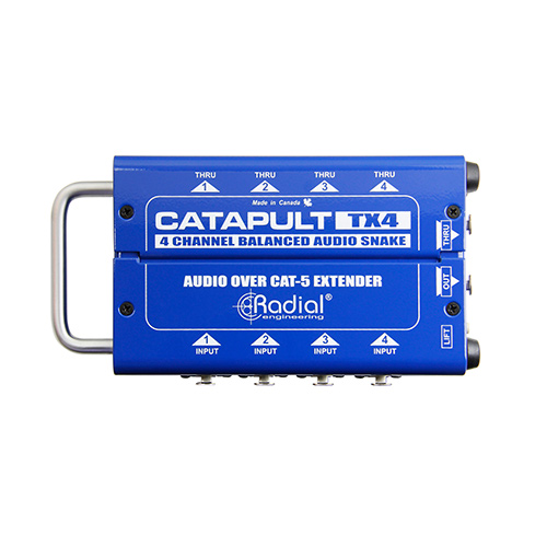 Radial Catapult TX4 4ch transmitter, with balanced i/o, uses shielded cat-5, Transmit with 4 XLR ins and 4 XLR outs