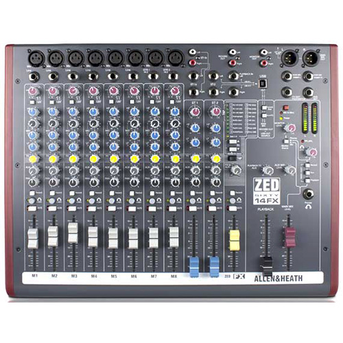 Allen & Heath ZED-60/14FX, 8 Mic inputs, 60mm Faders, USB and Effects